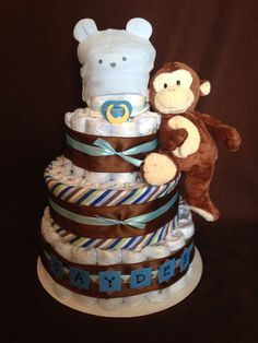 4-Tier Monkey Diaper Cake.. Blue and Brown.. Baby Boy