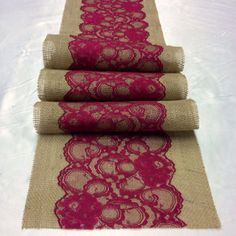 "8ft Burlap Lace Table Runner with Burgundy/Wine Lace, 10"" Wide x 96"" Vintage, Burgundy Wedding Decor, Navy Weddings on Etsy, $24.24 AUD"