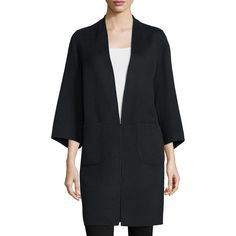 Zac Zac Posen Lauren 3/4-Sleeve Coat (6.818.405 IDR) ❤ liked on Polyvore featuring outerwear, coats, onyx min r, three quarter coat, slim fit coat, 3/4 sleeve coat, slim coat and zac zac posen