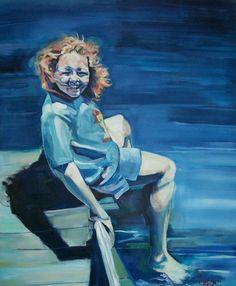 """Rebecca Davies  'Dare me?'   41"""" x 50"""" acrylic on canvas"""