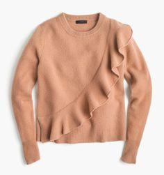 Ruffled Wool Crewneck Sweater