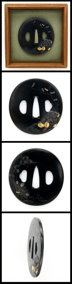 On Shakudo Tsuba, A scene from the tale of Genji is carved with gold color.