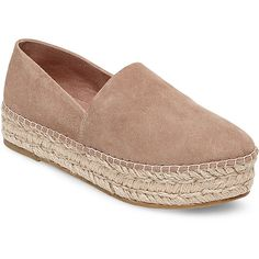 Steve Madden Prisila Flats (1,770 MXN) ❤ liked on Polyvore featuring shoes, flats, tan suede, steve madden shoes, flat pumps, espadrille flatform, steve madden and tan flats