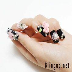 3d bling nails | Bling Up Inc. - Hand Made 3D Rose Nail Art on Black Nail ... | Nail A ...
