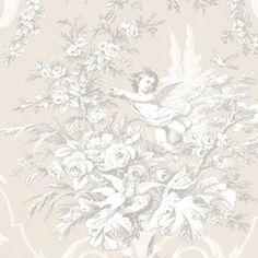 Floral-Cherub-Victorian-Tan-Wallpaper-CH22540-Double-Roll-FREE-shipping