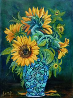 Sunflowers by Janet Silkoff - Sunflowers Painting - Sunflowers Fine Art Prints and Posters for Sale Sunflower Art, Still Life Art, Easy Paintings, Pictures To Paint, Artist Art, Painting Inspiration, Les Oeuvres, Painting & Drawing, Fine Art America