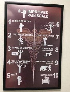 New and improved pain scale. Just a little humor to start your day. Burning Mouth Syndrome, Pain Scale, Trigeminal Neuralgia, I Cant Sleep, Wake Up Call, Quality Memes, Fresh Memes, Band Aid, Chronic Illness