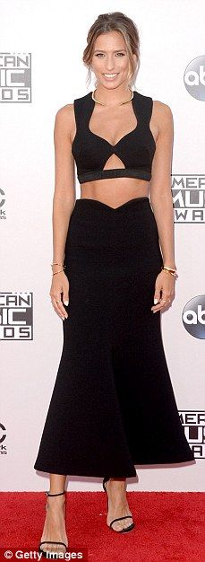 Renee Bargh with a crop top and a long skirt... All in black!