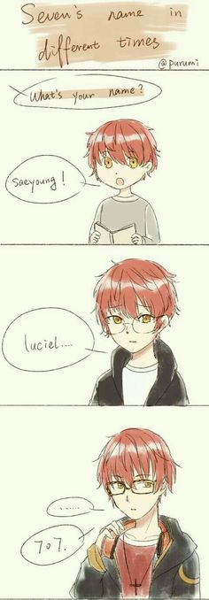 Seven's Name in Different Times, text, comic, 707, Luciel, Saeyoung Choi, young, childhood, different ages, time lapse, cute; Mystic Messenger