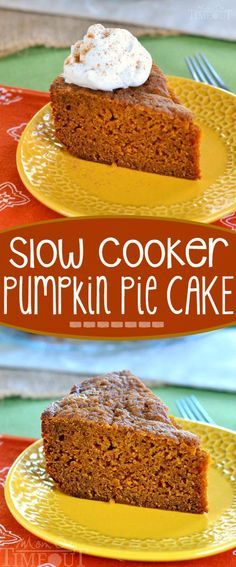 This Slow Cooker Pumpkin Pie Cake is sure to quickly become a family favorite. … This Slow Cooker Pumpkin Pie Cake is sure to quickly become a family favorite. Moist, delicious and so wonderfully easy to prepare – straight from your slow cooker Crock Pot Desserts, Slow Cooker Desserts, Just Desserts, Delicious Desserts, Yummy Food, Cooker Recipes, Crockpot Recipes, Pumpkin Recipes Slow Cooker, Crockpot Pie