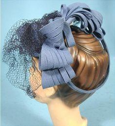 "ca 1940 BETTY CO-ED from Henry Pollack Cornflower Wool ""Doll"", ""Toy"", ""Tilt"" Hat."