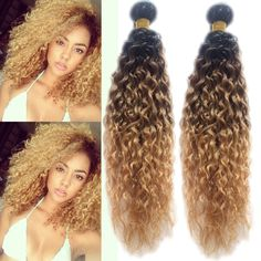 "12""-30""Brazilian Ombre Human Hair Extension 1B/33/27#Curly Wave Human Hair,50g #WIGISS #HairExtension"