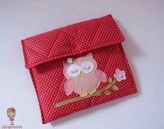 Porta documentos bebê - Coruja rosa