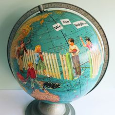 Great idea by T-Party Globe - decoupage a globe with vintage children's book