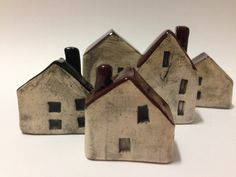Small Ceramic House with Chimney - colour Underglaze (various colours) gloss roof