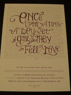 Fairy tale Wedding Invitation. At in a snow storm and were good!