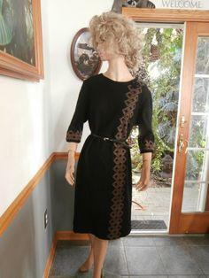 Vintage Black Virgin Wool Dress ~ Lady Mendel Knits of Distinction Dress