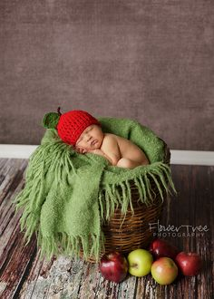Aww.....so sweet! I love the hat! ♥ Newborn Baby Photography | Hershey PA Newborn Baby Photographer | Apple Of My Eye Theme | Props & Pose Idea | Fall Photo Session Idea | Prop