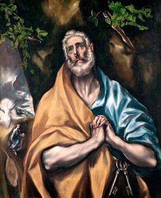 """EL GRECO: """"Lágrimas de San Pedro (h. 1605). Hospital de Tavera, Toledo. Se trata de una iconografía repetida en varias ocasiones por el pintor."""