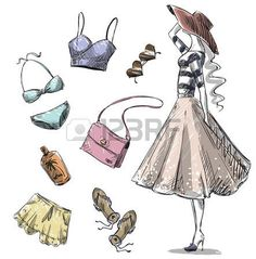 boceto moda: Manera del verano. colección de ropa de verano y accesorios Vectores