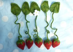 bunnyknitter's strawberry bookmarks