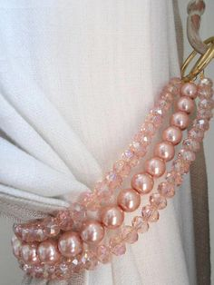 of 2 pink and gold bohemian crystals tieback, pink faux pearl decorative curtain tieback with crystals - curtains- Cortinas Shabby Chic, Rideaux Shabby Chic, Shabby Chic Curtains, Diy Curtains, Bedroom Curtains, Curtains For Girls Room, Camper Curtains, Bohemian Curtains, Pleated Curtains