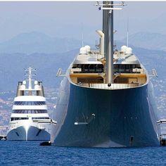 Holiday Apartment Villa French Riviera Rentals Promenade Des Anglais Nice - World largest Sailing Yacht present during the Monaco Grand Prix. Skyline Gtr, Super Yachts, Big Yachts, Sailing Yachts, Yacht Design, Boat Design, Lamborghini Gallardo, Yacht Luxury, Luxury Cars