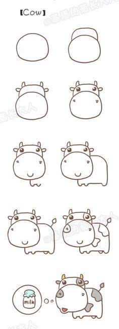 Step by step drawing : learn to draw a cow / Dessins étapes par étapes : Apprendre à dessiner une vache #ad