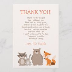 Shop Baby Shower Thank You Card Woodland created by Anietillustration. Thank You Card Wording, Thank You Greeting Cards, Thank You Cards From Kids, Baby Shower Thank You Cards, Custom Thank You Cards, Cheap Baby Shower, Baby Shower Gifts, Zebra Baby Showers, Fathers Day Crafts