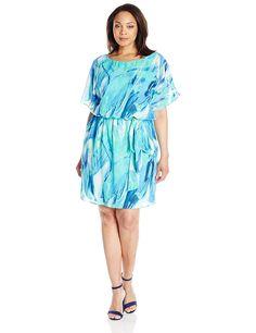 S.L. Fashions Women's Plus Size Reorder Ice Print Blouson Dress >>> Unbelievable  item right here! : Plus size dresses