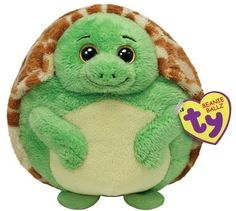 "Ty Beanie Ballz Collectible Turtle Yellow Eyes ""Zoom"" Green Stuffed Animal Toy"