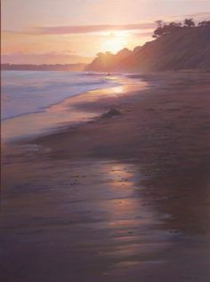 1507. Sunset at Hendry's Beach    oil on canvas 48x36 private collection