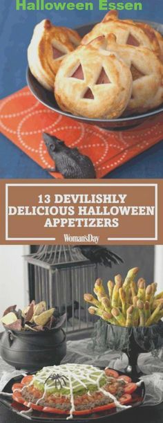 Create the best spread at your Halloween party with these fun finger foods. Click through for easy recipes like Jack 'O Lantern Sandwich Bites, Spiderweb Pizza, Spiderweb Nacho Spread, and more. snacks nachos 32 Halloween Finger Foods to Whip Up This Year Comida De Halloween Ideas, Halloween Fingerfood, Halloween Mignon, Pasteles Halloween, Soirée Halloween, Halloween Dinner, Halloween Goodies, Halloween Food For Party, Halloween Birthday