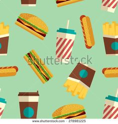 Fast Food Icons Pattern On Turquoise Stock Vector (Royalty Free) 278981225 Turquoise Background, Food Icons, Modern Colors, Geometric Art, Flat Design, Royalty Free Stock Photos, Lunch, Business, Illustration