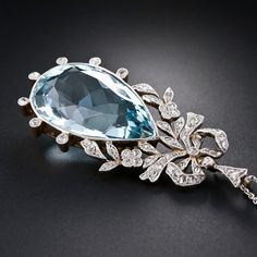 Edwardian Aquamarine and Diamond Bow Pendant For Sale at 1stdibs