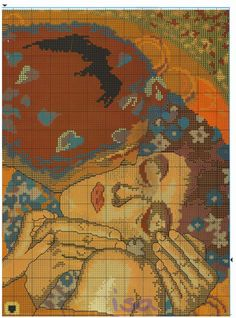 the kiss klimt Embroidery Patterns, Cross Stitch Patterns, Crochet Patterns, Gustav Klimt, Pixel Crochet, Hello Kitty, Bottle Art, Les Oeuvres, Art Nouveau