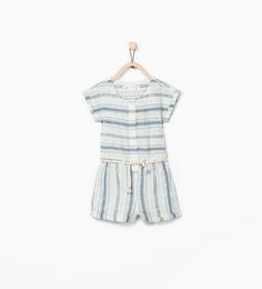 Image 1 of Striped jumpsuit with cord belt detail. from Zara