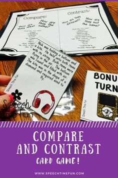 Compare Contrast Card Game:  Work on compare/contrast at the paragraph level with this fun, interactive, and motivating card game!  Your speech and language students won't realize they are learning!