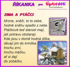 Zima a ptáčci Winter Time, Kindergarten, Language, Classroom, Crafty, Victoria, School, Sport, Pictures