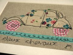 Deux chevaux 2CV - framed freestyle machine embroidery