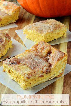 Pumpkin Pie Sopapilla Cheesecake   Delicious fall dessert that starts from crescent rolls!