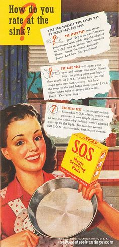 SOS For The  Housewife   1946 vintage advertising   She needs the rubber gloves!