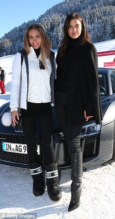 Girl talk: Irina  posed for a picture with fellow model Ann-Kathrin Brommel, who is the wife of German footballer Mario Gotze