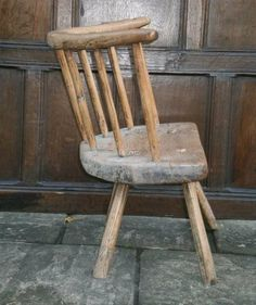 Antique Stick Back Chairs, Century Primitive Stick Chair . A truly wonderful century ash and elm low back chair Primitive Furniture, Rustic Furniture, Furniture Design, Wood Stool, Take A Seat, Furniture Making, 18th Century, Stools, Wood Crafts