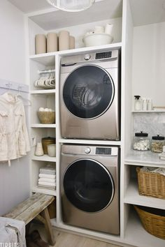 European Organic inspired laundry room, full of elements such as natural textures, matte walls, marb Laundry Room Layouts, Laundry Room Remodel, Laundry Closet, Small Laundry Rooms, Laundry Room Organization, Laundry Room Design, Laundry Storage, European Laundry, Laundry Room Inspiration