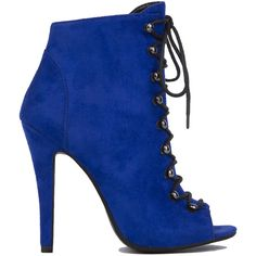 AKIRA Black Label Lace Up Peep Toe Jordan Booties - Blue Suede (€46) ❤ liked on Polyvore featuring shoes, boots, ankle booties, heels, booties, sapatos, ankle boots, blue suede, faux suede booties and high heel boots
