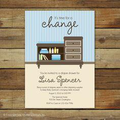 custom baby shower invitation, diaper shower, Changing table. $15.00, via Etsy.