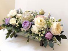 Purple Flower Centerpieces, Long Table Centerpieces, Flower Box Centerpiece, Wedding Centerpieces, Bridal Shower Flowers, Wedding Table Flowers, Floral Wedding, Sola Flowers, Faux Flowers