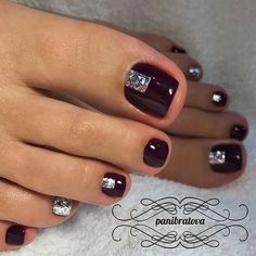 Trendy Ideas For Gel Manicure Colors Nail Tutorials Fall Toe Nails, Pretty Toe Nails, Cute Toe Nails, Black Toe Nails, Pretty Pedicures, Winter Nails, Toenail Art Designs, Pedicure Designs, Black Nail Designs