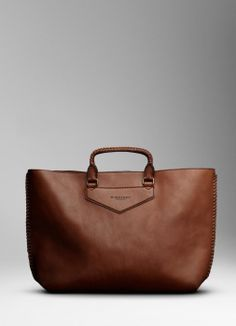 Burberry men braided leather detail tote